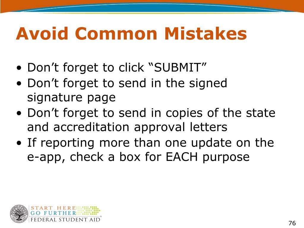 Avoid Common Mistakes