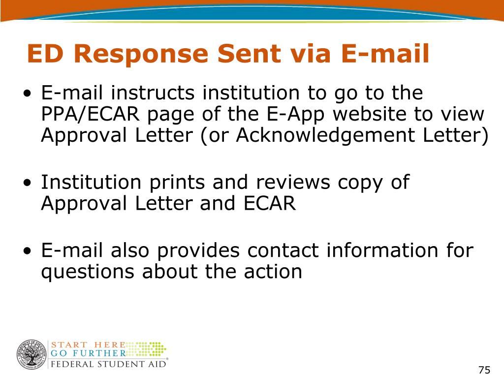 ED Response Sent via E-mail