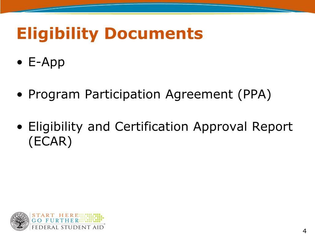 Eligibility Documents