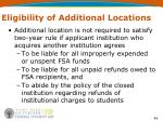 eligibility of additional locations49