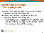 reporting changes two categories