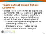teach outs at closed school locations51