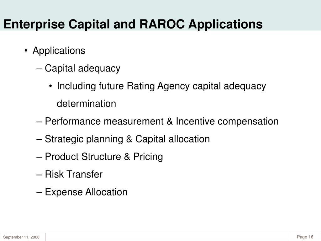 Enterprise Capital and RAROC Applications