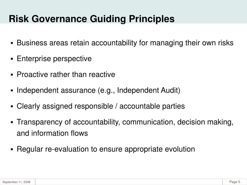 Risk Governance Guiding Principles
