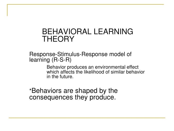 stimulus response theory Psychology resource for all, including psychology theory explanations, practical guides to psychology and online personality tests.
