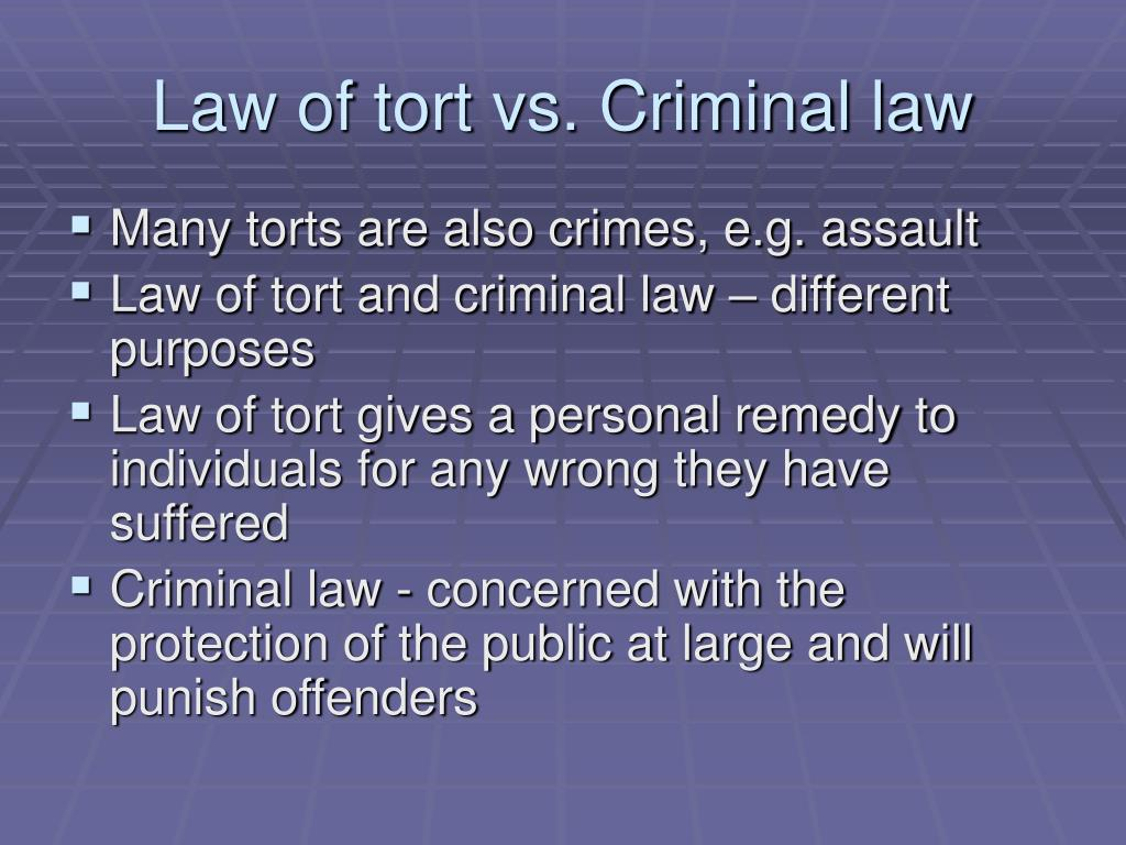 law tort law criminal law contracts Definition of law of torts in the legal dictionary - by free online english dictionary and encyclopedia therefore tort law is one of the major areas of law (along with contract, real property and criminal law), and results in more civil litigation than any other category.