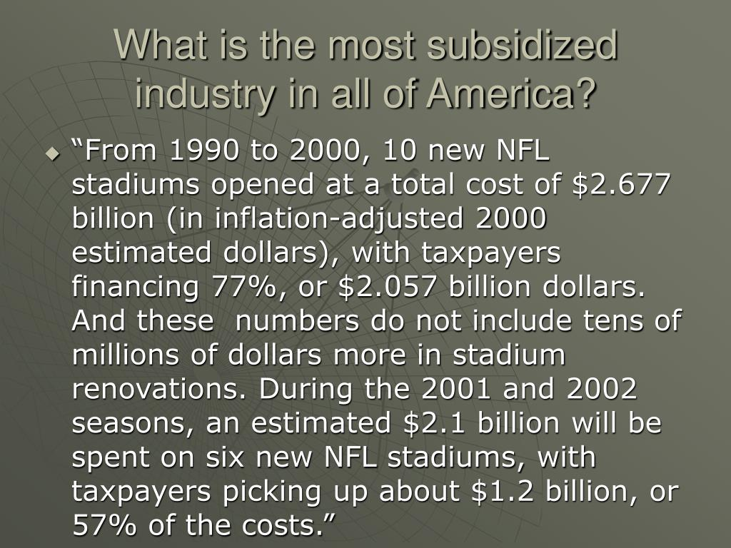 What is the most subsidized industry in all of America?
