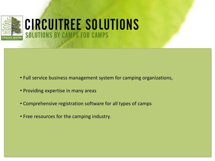 Full service business management system for camping organizations,