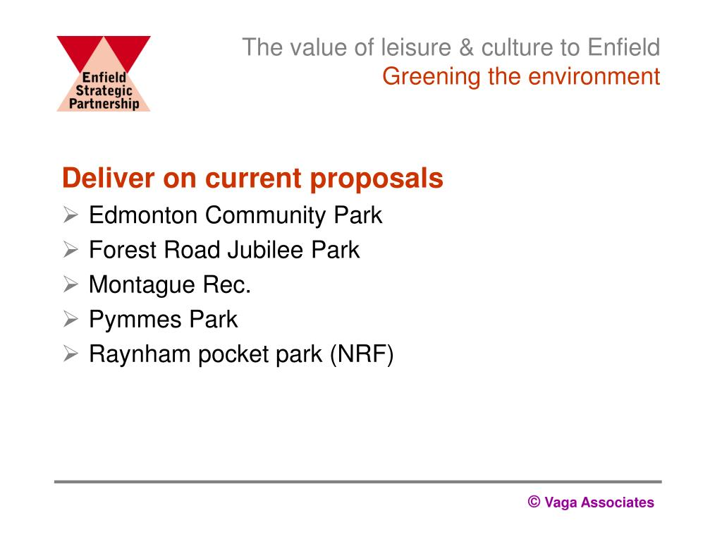 The value of leisure & culture to Enfield