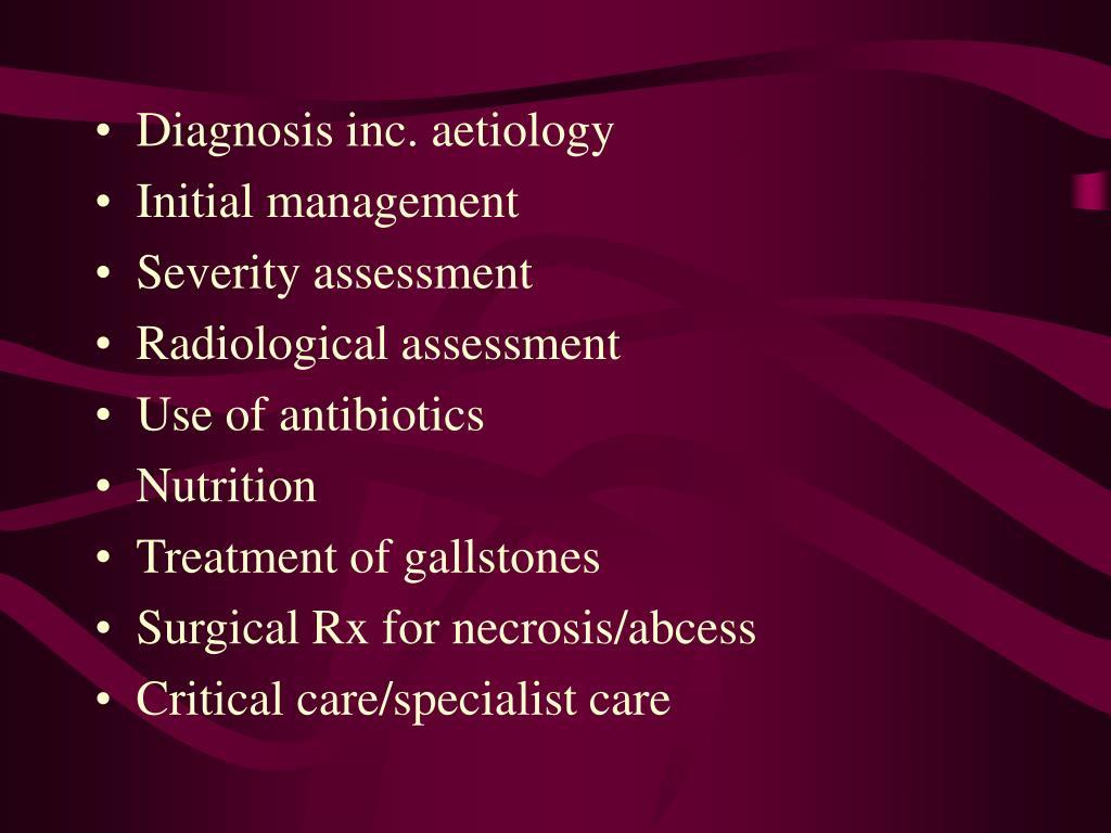 Diagnosis inc. aetiology
