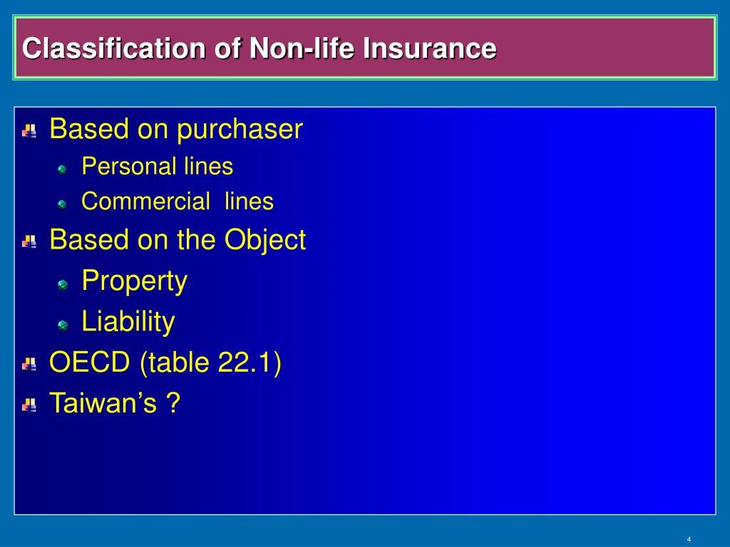 Classification of Non-life Insurance