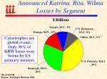announced katrina rita wilma losses by segment