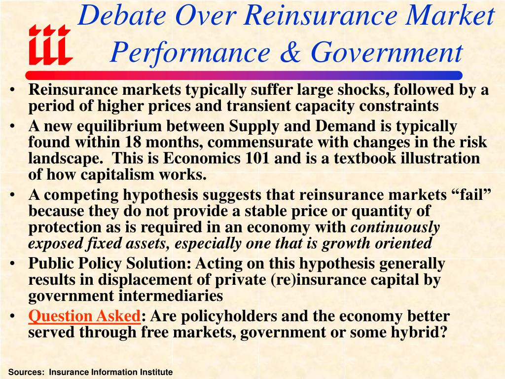 Debate Over Reinsurance Market Performance & Government