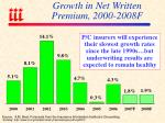 growth in net written premium 2000 2008f