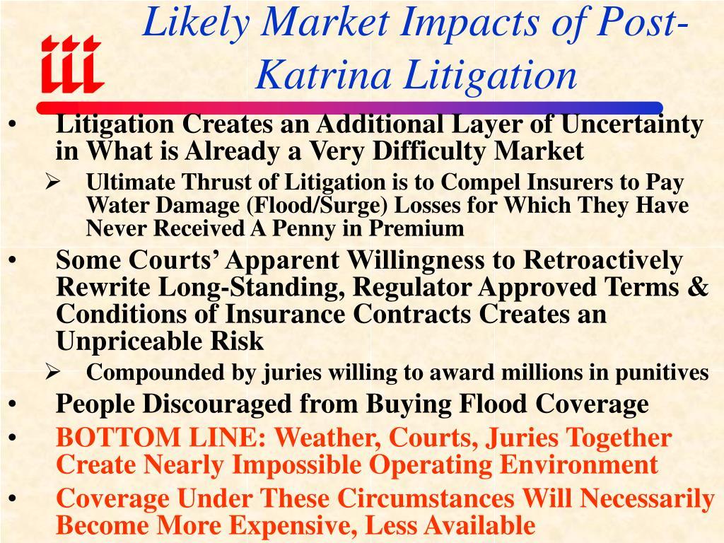 Likely Market Impacts of Post-Katrina Litigation