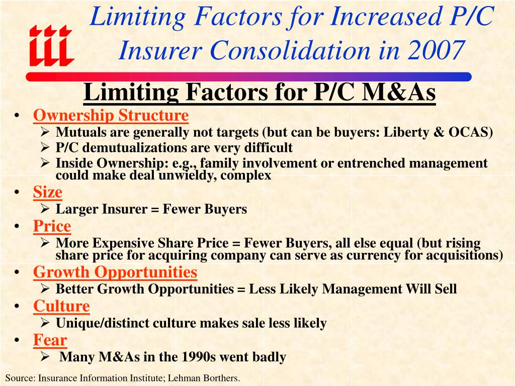 Limiting Factors for Increased P/C Insurer Consolidation in 2007