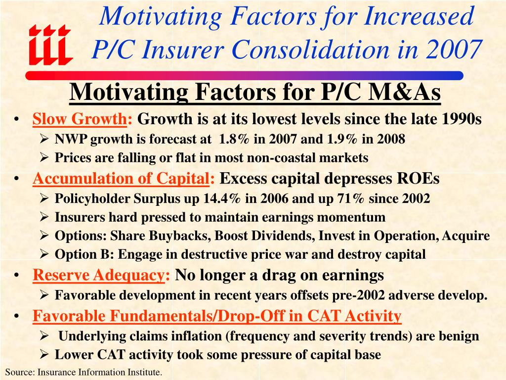 Motivating Factors for Increased P/C Insurer Consolidation in 2007