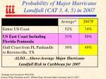probability of major hurricane landfall cat 3 4 5 in 2007