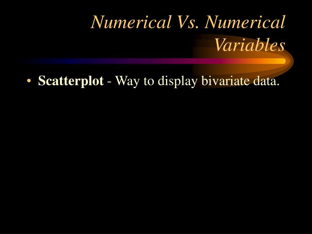 Numerical Vs. Numerical Variables