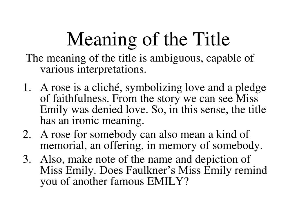Meaning of the Title