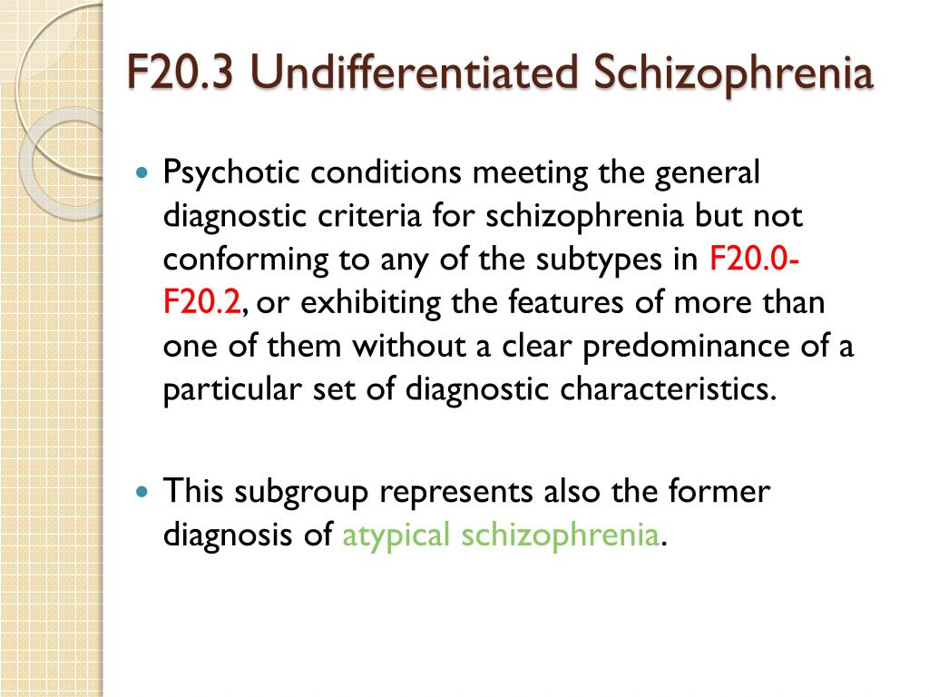 F20.3 Undifferentiated Schizophrenia