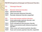 f20 f29 schizophrenia schizotypal and delusional disorders18