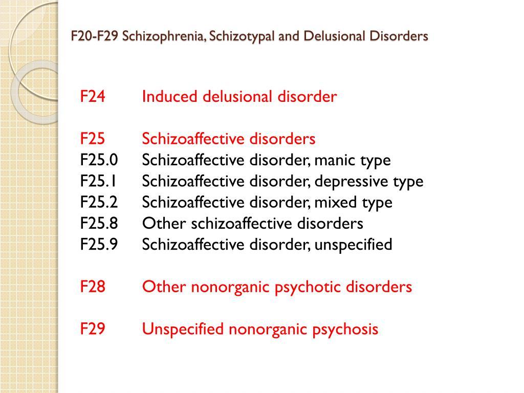 F20-F29 Schizophrenia,