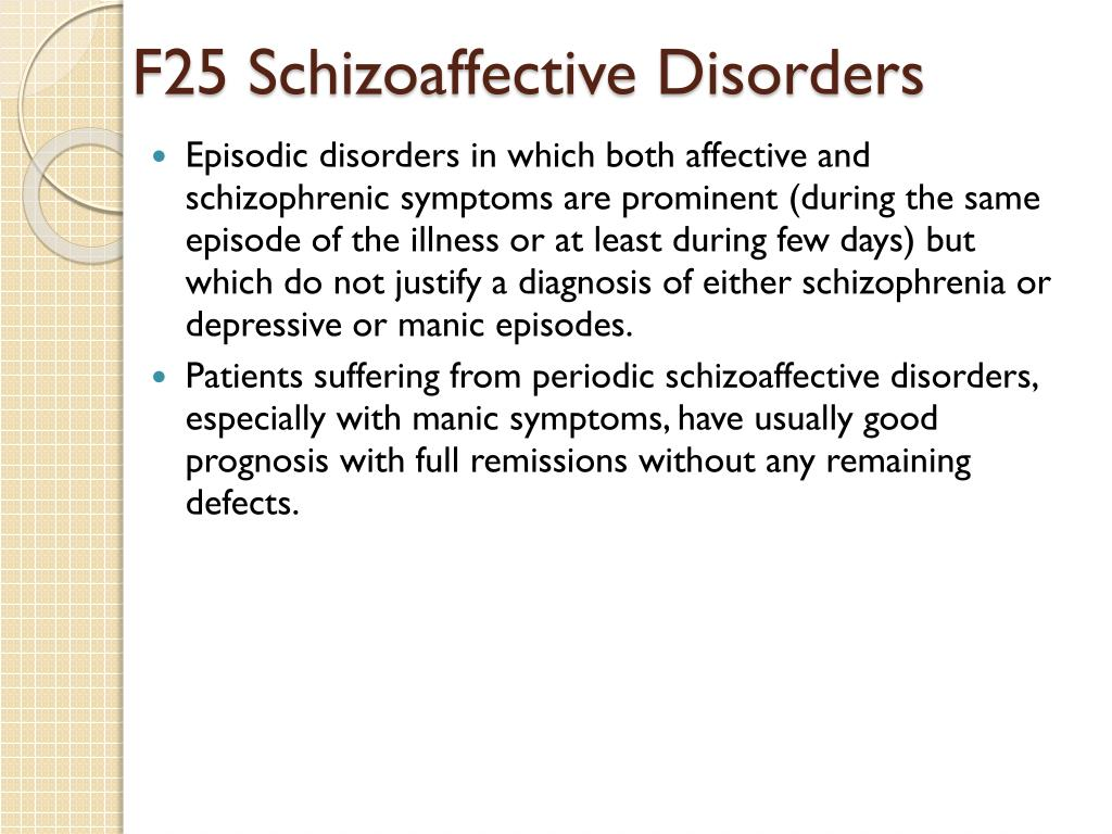 F25 Schizoaffective Disorders