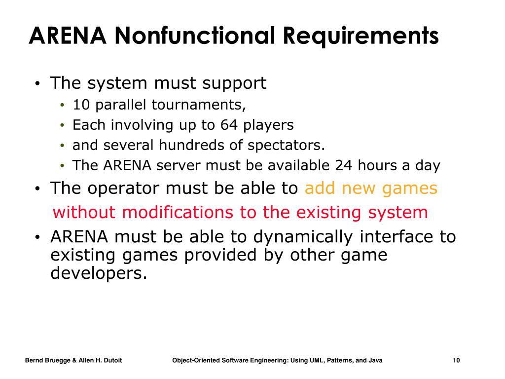 ARENA Nonfunctional Requirements