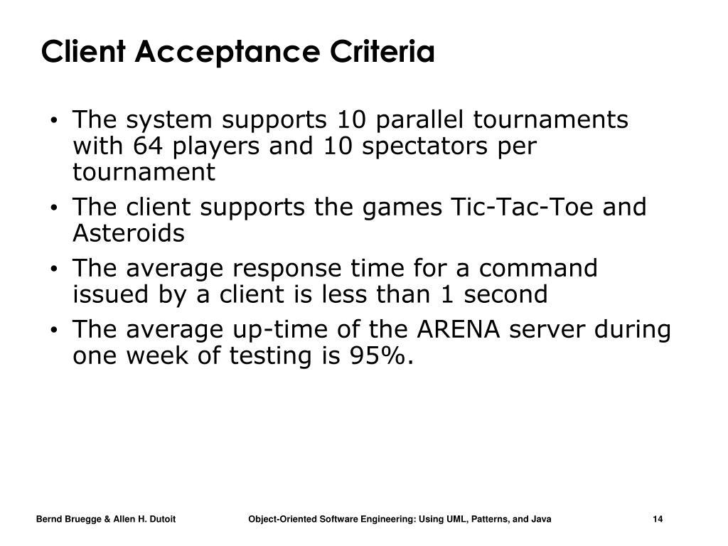 Client Acceptance Criteria