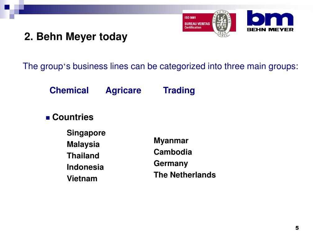 2. Behn Meyer today