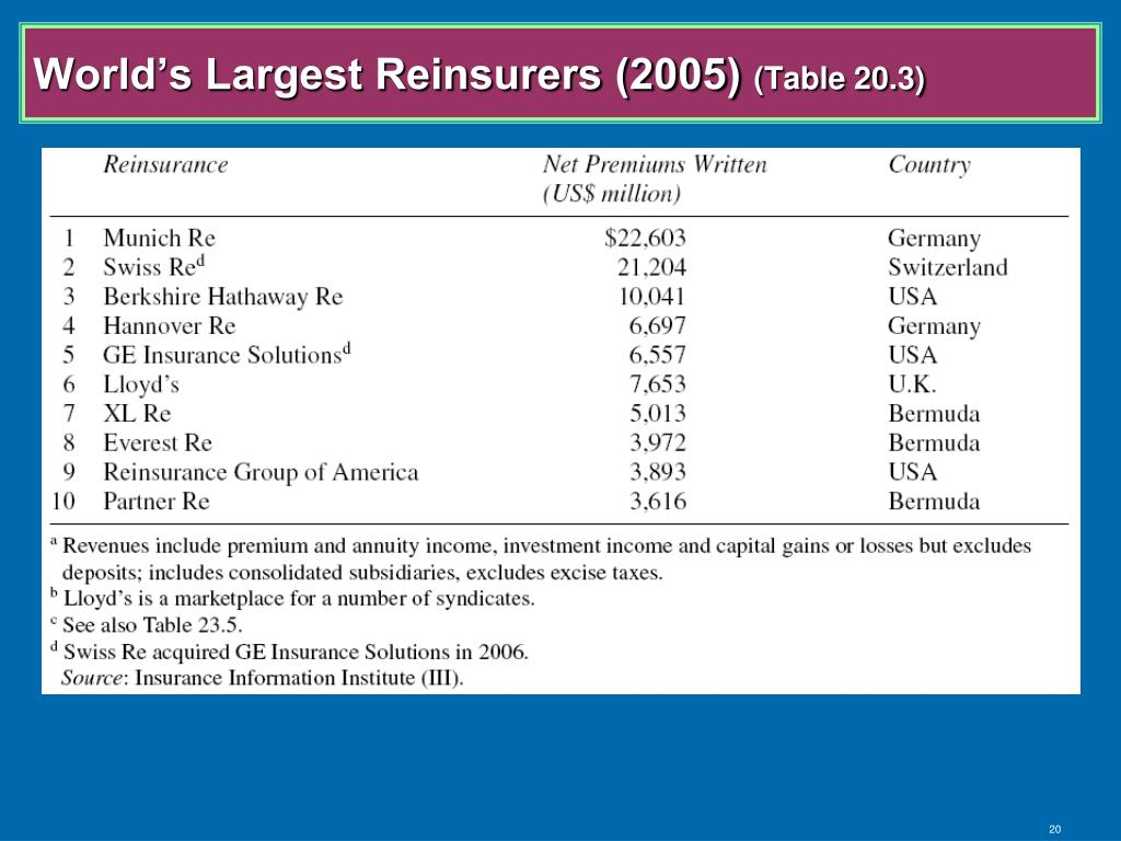 World's Largest Reinsurers (2005)