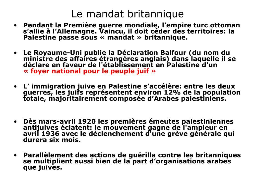Le mandat britannique