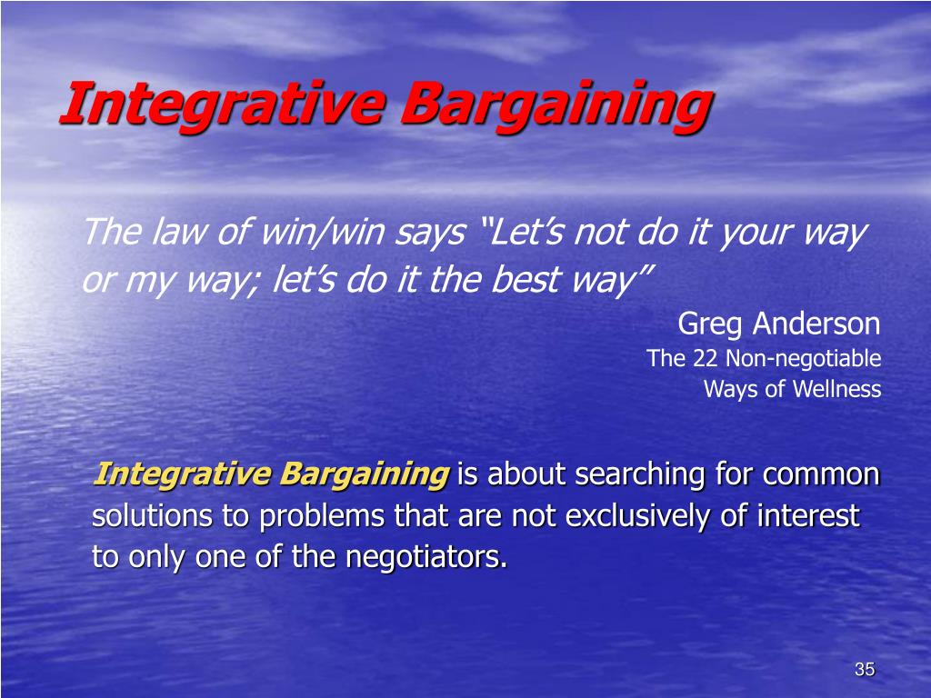 integrative bargaining Integrative bargaining i will attach the big paper my group and i wrote, and i want you to write the integrative bargaining secation besad on what you think of the.