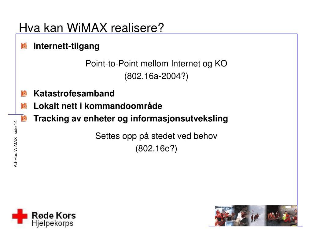 Hva kan WiMAX realisere?