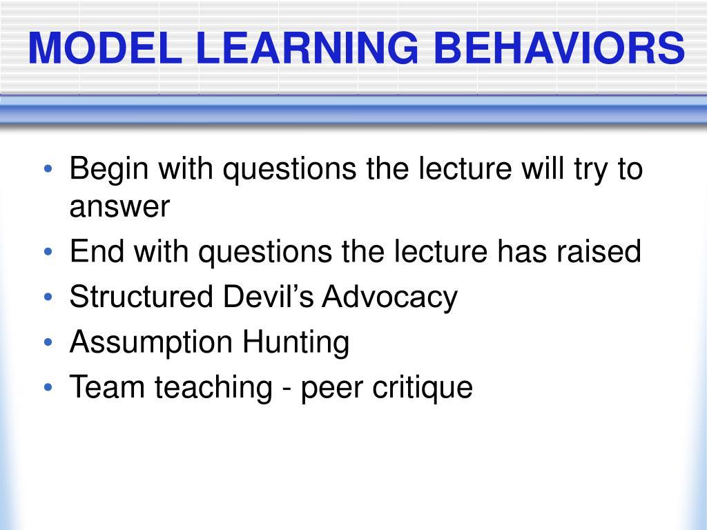 MODEL LEARNING BEHAVIORS