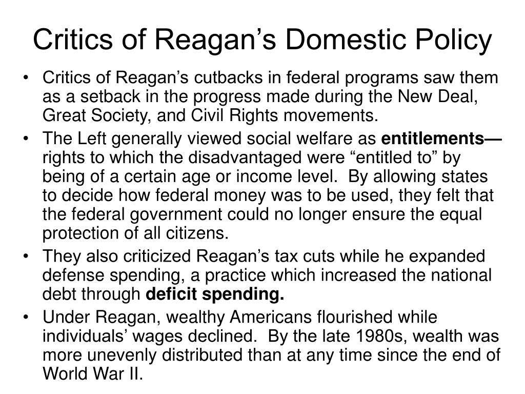 Critics of Reagan's Domestic Policy