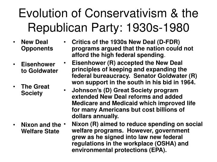 Evolution of conservativism the republican party 1930s 1980