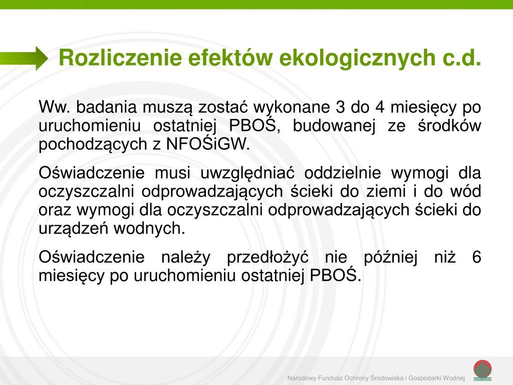 Rozliczenie efektów ekologicznych c.d.