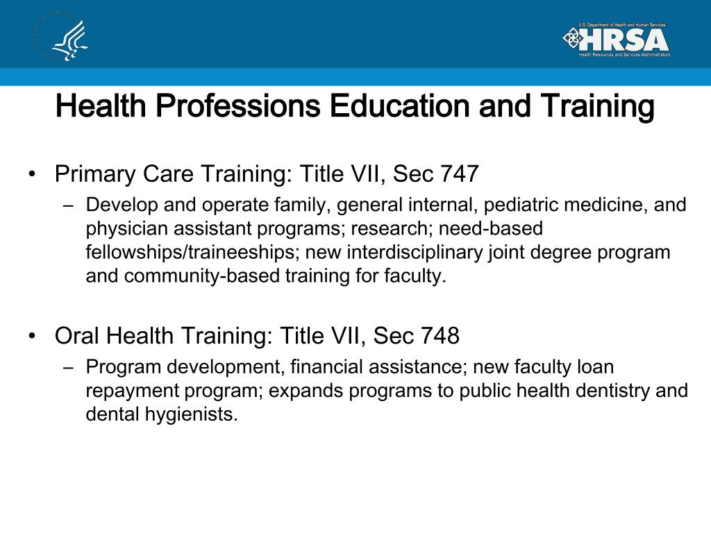 Health Professions Education and Training