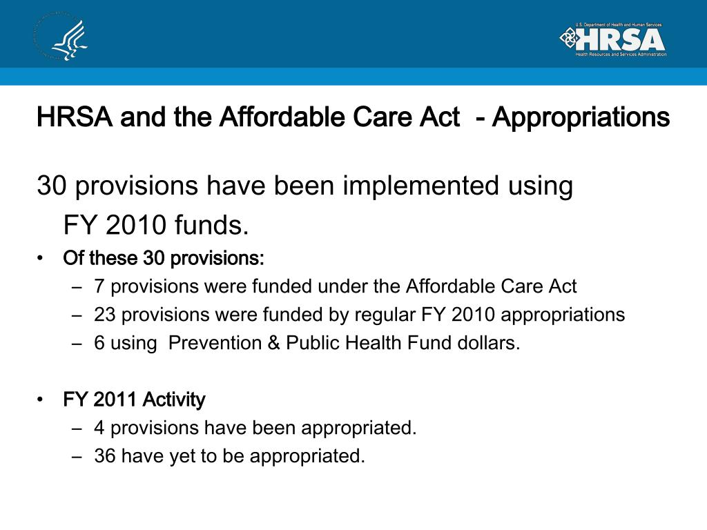 HRSA and the Affordable Care Act  - Appropriations