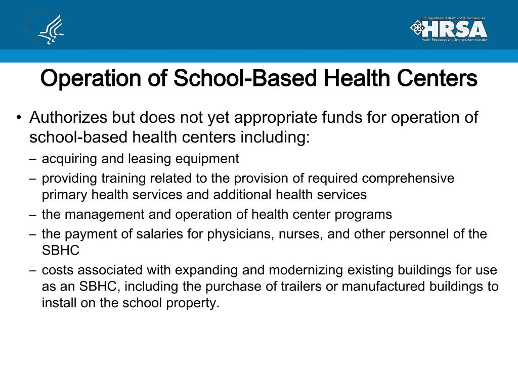 Operation of School-Based Health Centers