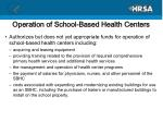 operation of school based health centers