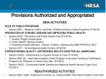 provisions authorized and appropriated