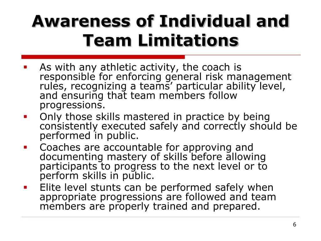 Awareness of Individual and Team Limitations