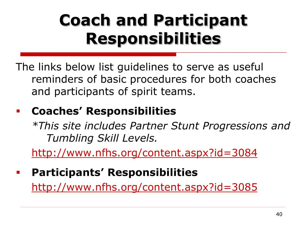 Coach and Participant Responsibilities