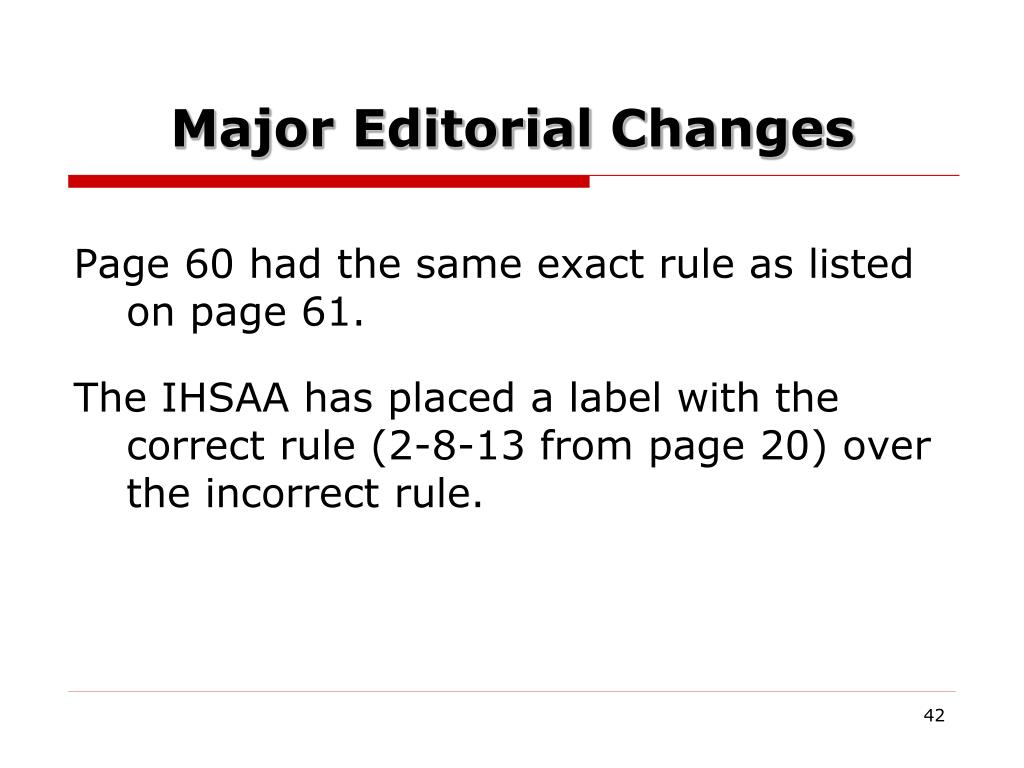 Major Editorial Changes