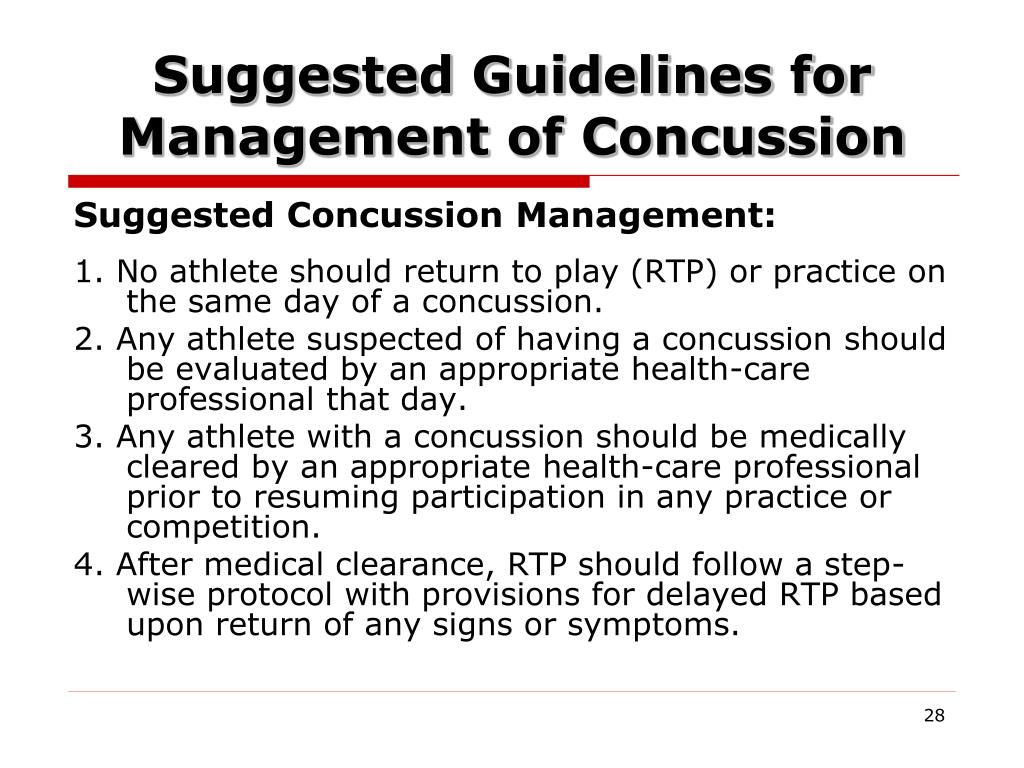 Suggested Guidelines for Management of Concussion