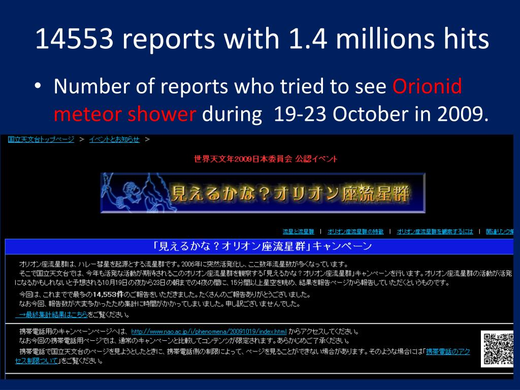 14553 reports with 1.4 millions hits
