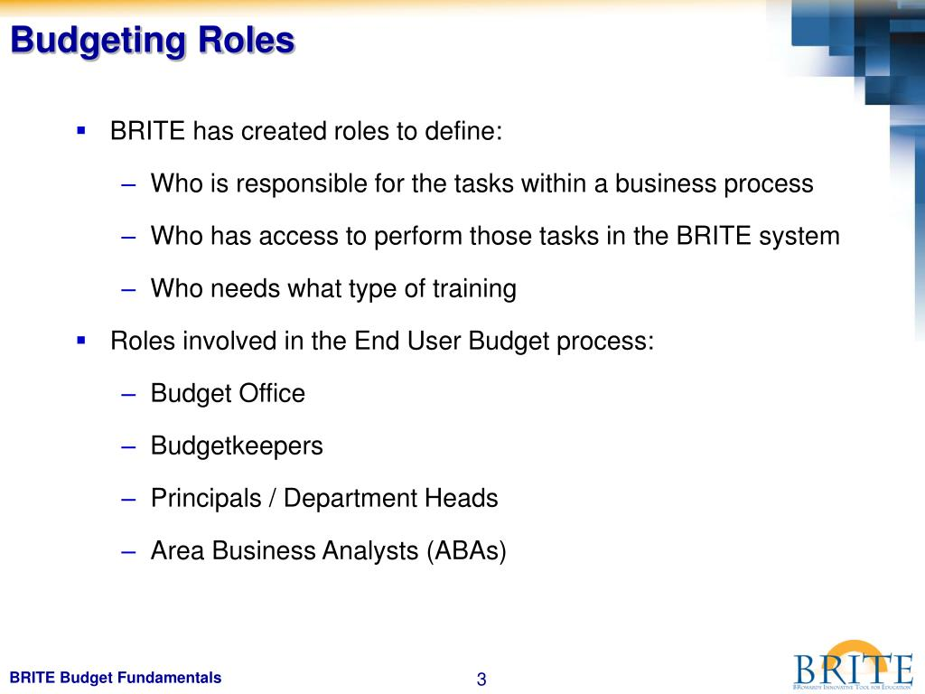 Budgeting Roles